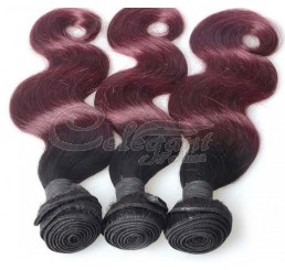 (3 Bundles) 8A Grade Full and thick Body Wave 2 Tone Ombre (1B/99J) 100% remy human hair extension
