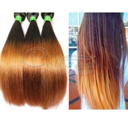 8A Grade Full and thick 100% Remy Malaysian virgin two tone ombre straight hair weave