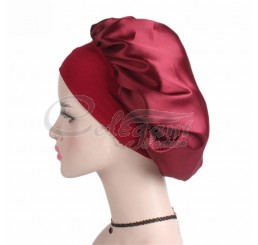 100% Polyester Satin Silky Night Bonnet Cap