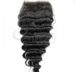 "Top closure hair lace closure swiss lace 4""*4"" Deep wave no shedding and tangle free"
