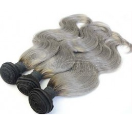 (3 Bundles) 8A Grade Full and thick Body Wave 2 Tone Ombre (1B/GREY) 100% remy human hair extension