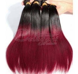 (3 Bundles) 8A Grade Full and thick Straight  2 Tone Ombre (1B/BURGUNDY) 100% remy human hair extension