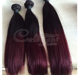 (3 Bundles) 8A Grade Full and thick Straight  2 Tone Ombre (1B/99J) 100% remy human hair extension