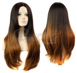 Synthetic hair long ombre brown wig for women