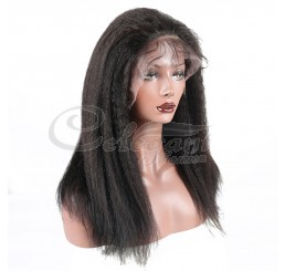 Grade 8A Kinky Straight unprocessed virgin hair Lace Front wig