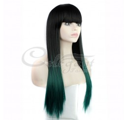 Synthetic hair long ombre fringe green wig for women