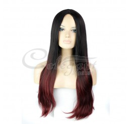 Synthetic hair long ombre Black wig for women