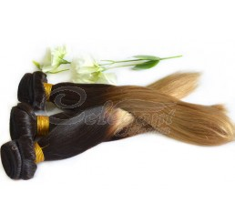 8A Grade Full and thick 100% Remy Indian virgin two tone ombre straight hair weave