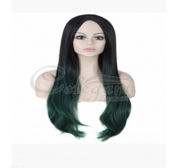 Synthetic hair long ombre green wig for fashion woman